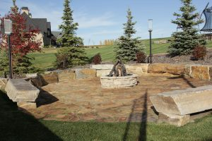 concrete curbing stone floor retaining wall firepit