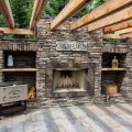 A Custom Outdoor Kitchen with Fireplace