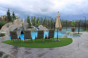 Artificial Grass, Precision Greens at a Swimming pool