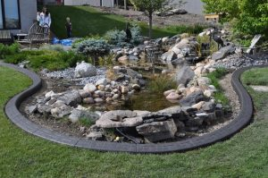 Concrete curb appeal dark colored with water pond. Big landscaping rocks and green lawn.