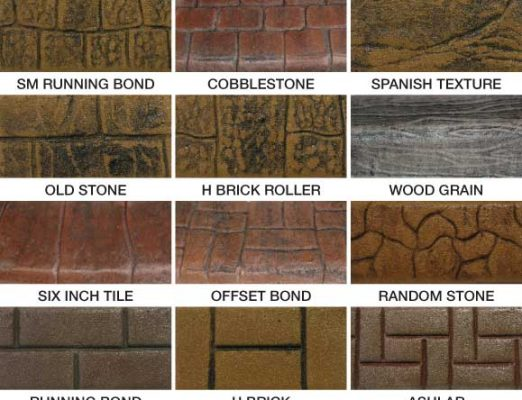 Curb appeal or concrete curbing. This includes Slate, Soldier Course, Flagstone, Ashlar Roller, Brick Bond,Basket Weave, Sm Running Bond, Cobblestone and more