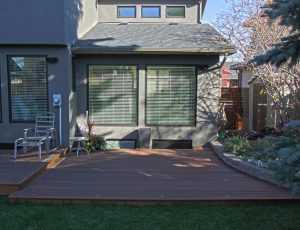 Calgary backyard with custom dark stained deck with LED lights.