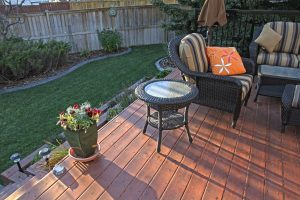 deck and artificial grass and concrete curbing