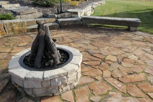 firepit with concrete curbing