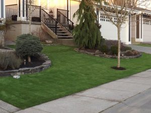 Front driveway artificial grass and concrete curbing
