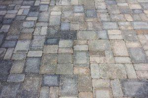 Landscaping walkway or patio. Custom granite rock formation