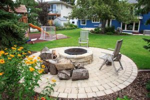 Outdoor Fire-pit with custom landscaping