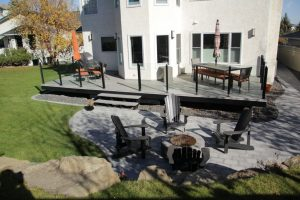 outdoor fireplace and concrete curbing