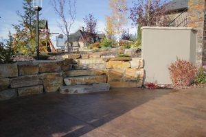 retaining wall with playground