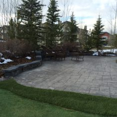 Retaining walls and concrete patio landscape project