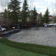Retaining walls and concrete patio landscape project