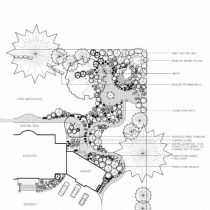 Side view of landscaping design drawing. Drawing used as blueprint of a landscaping project.
