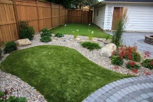 Small landscaping project in south west Calgary. Cedar fences and putting green