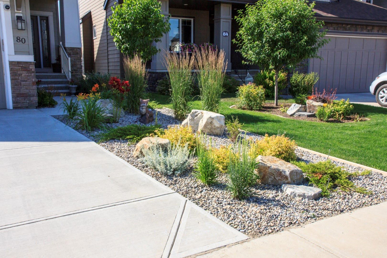 Xeriscaping on a front lawn
